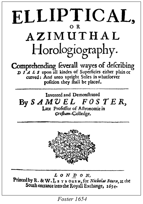 Analemmatic Elliptical Horologiography Foster 1654